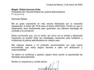 Con beneplácito recibimos la noticia de la designación del Magistrado Rafael Anzures Uribe, como nuevo Presidente del Tribunal Superior de Justicia Administrativa, para el trienio 2020-2022.  Fecha: 2 de enero de 2020