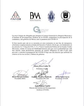 El Consejo General de la Abogacía Mexicana, INCAM, ANADE, BMA conjuntamente con el IIJUNAM