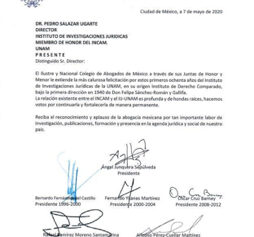 El Ilustre y Nacional Colegio de Abogados de México, felicita al Instituto de Investigaciones Jurídicas de la UNAM por sus ochenta años.