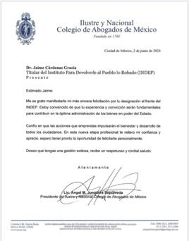 Dr. Jaime Cárdenas García: Titular del Instituto Para Devolverle al Pueblo lo Robado (INDEP).  Fecha: 2 de junio de 2020