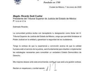 Felicitamos al Magistrado, Ricardo Sodi Cuellar, por su designación como Presidente del TSJ-EDOMEX para el periodo 2020-2025.